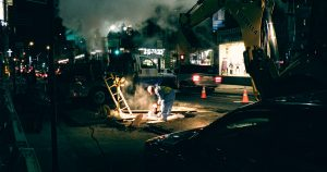 road workers at night